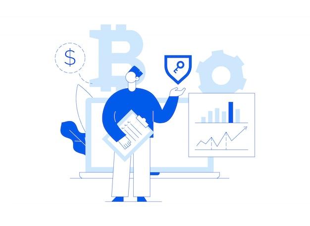Investissement bitcoin de vecteur