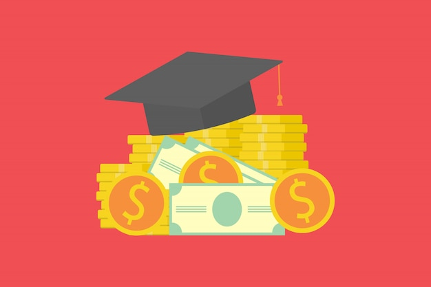 Investissement dans le concept de l'éducation. chapeau de diplômé sur pile d'argent et de pièces. concept d'économiser de l'argent pour la conception de bourses d'études.