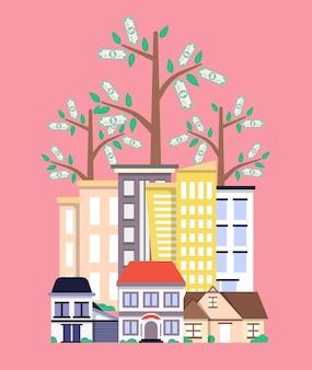 Investissement dans le concept immobilier au design plat