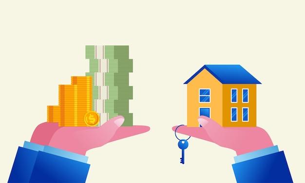 Investissement immobilier et concept de développeur bannière d'illustration vectorielle plane et page de destination