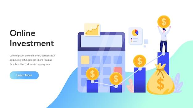 Investissement en ligne pour page de destination, site web, page d'accueil