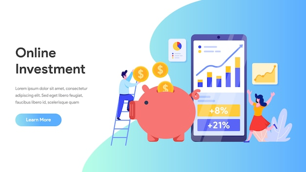 Investissement en ligne avec téléphone portable pour page de destination, site web, page d'accueil
