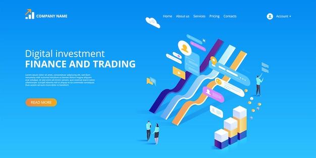 Investissement numérique. statistiques en ligne. illustra isométrique
