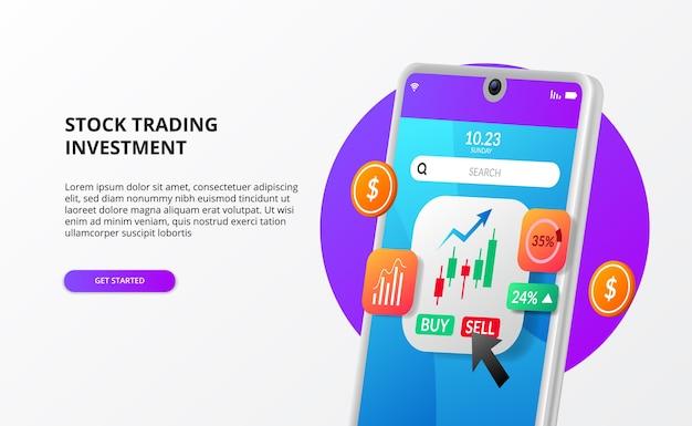 Investissement de trading de titres boursiers d'application moderne avec illustration graphique en chandelier avec croissance de l'argent de téléphone 3d
