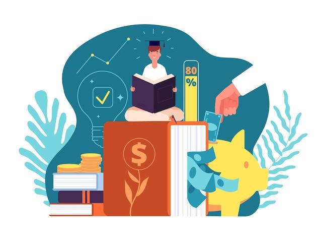 Investissements Dans La Connaissance. Investissez Dans L'éducation En Ligne, Les Prêts étudiants. Vecteur Premium
