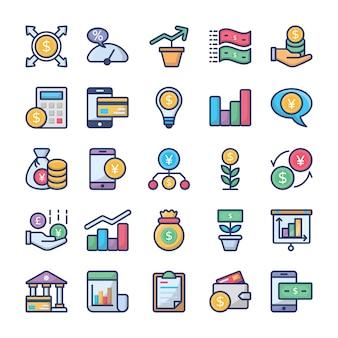 Investissements et finances icons set