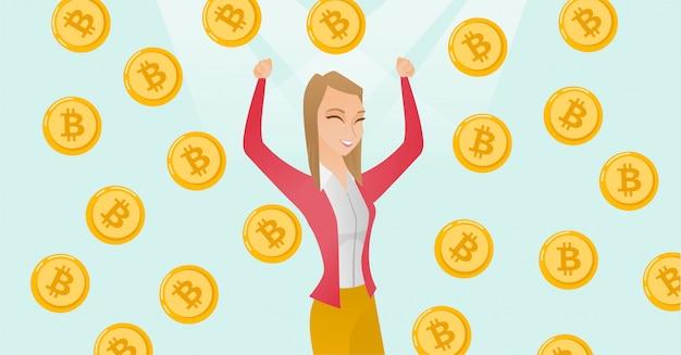 Investisseur prospère debout sous la pluie bitcoin.