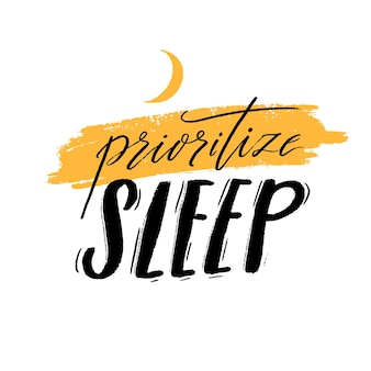Investissez dans le repos. citation de motivation sur la qualité du sommeil, l'importance de se débrancher et de se détendre. texte manuscrit noir décoré de croissant jaune isolé sur fond blanc.