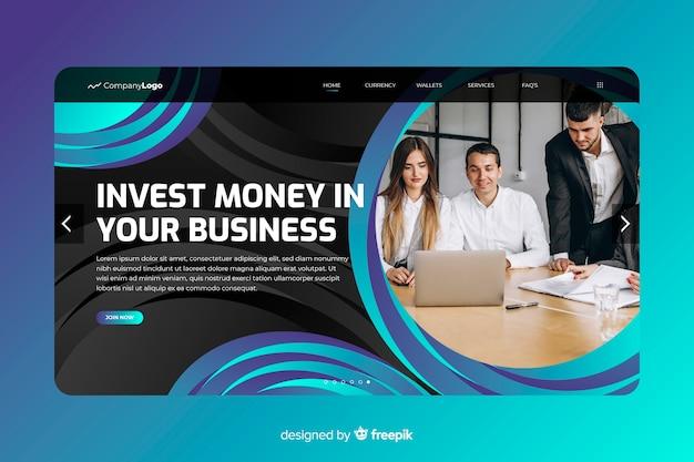 Investissez la page d'atterrissage de l'argent avec photo