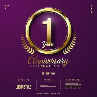 Invitation 1er anniversaire avec numéro et bracelet en or