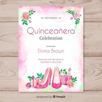 Invitation à la soirée Quinceañera avec des talons hauts