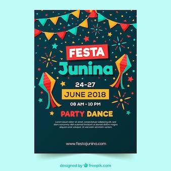 Invitation d'affiche de festa junina avec la danse de partie