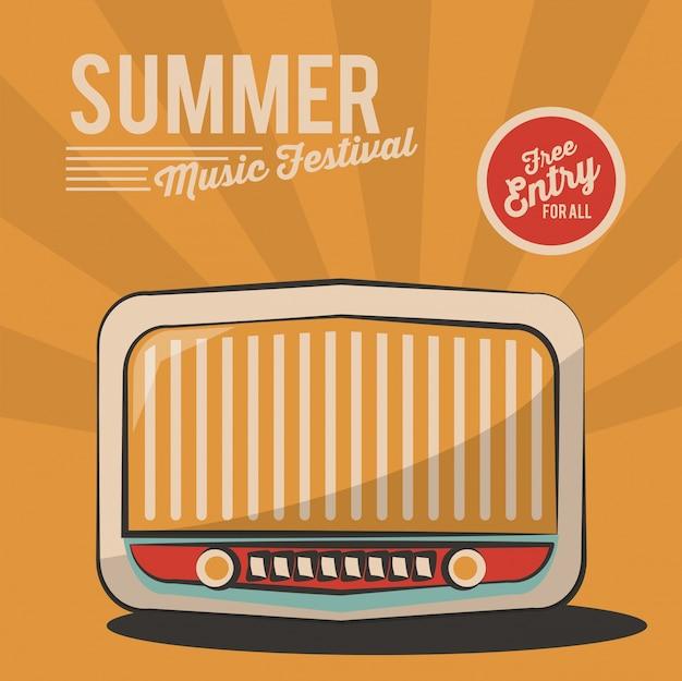 Invitation d'affiche vintage de radio de festival de musique d'été