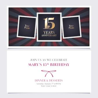 Invitation d'anniversaire de 15 ans.