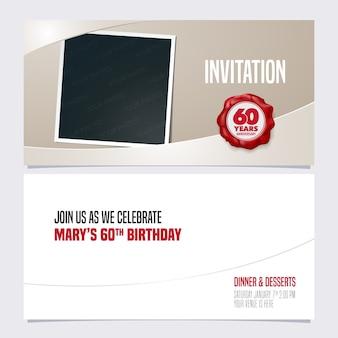 Invitation d'anniversaire de 60 ans. modèle avec collage de cadre photo pour invitation de fête du 60e anniversaire