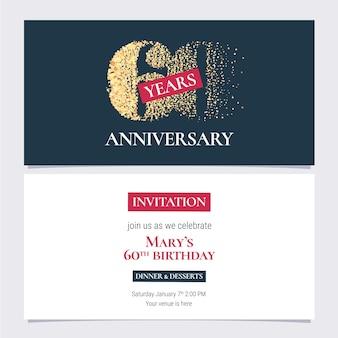 Invitation d'anniversaire de 60 ans. modèle de conception avec numéro d'or pour 60e anniversaire ou invitation à dîner avec copie du corps