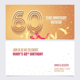 Invitation d'anniversaire de 60 ans pour la carte d'anniversaire 60e