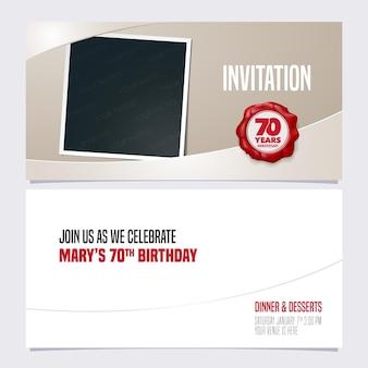 Invitation d'anniversaire de 70 ans.