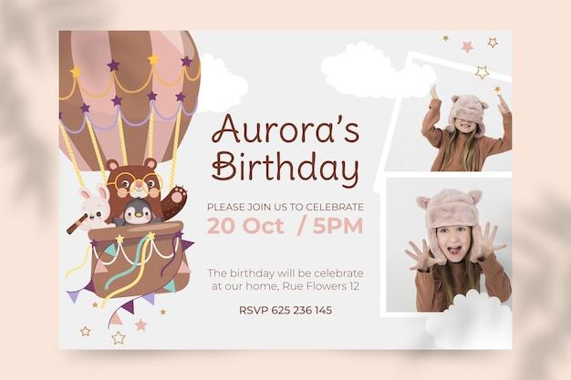 Invitation d'anniversaire d'animaux de dessin animé avec photo