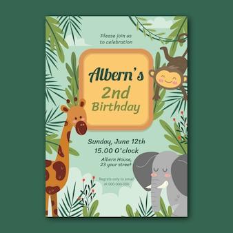 Invitation anniversaire animaux dessinés à la main