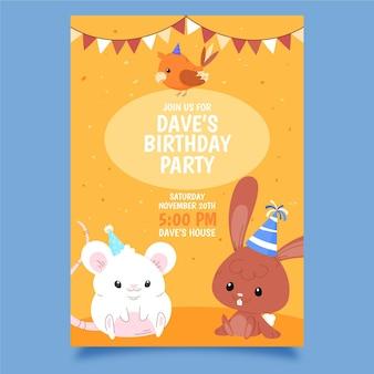 Invitation d'anniversaire d'animaux dessinés à la main