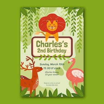 Invitation d'anniversaire d'animaux sauvages dessinés à la main