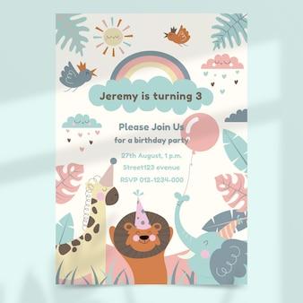 Invitation d'anniversaire d'animaux sauvages