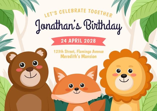 Invitation d'anniversaire d'animaux de style dessin animé