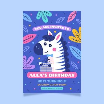 Invitation d'anniversaire d'animaux de style dessiné à la main