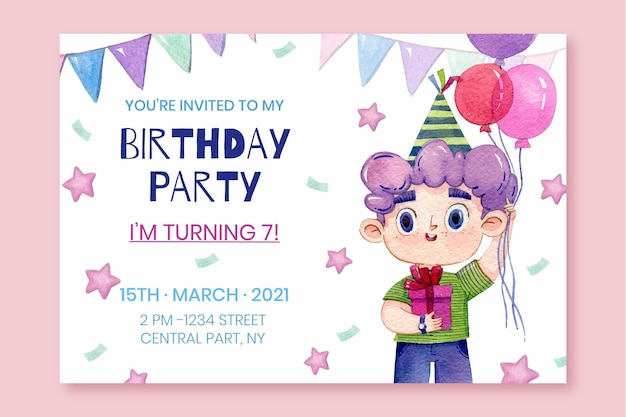 Invitation d'anniversaire aquarelle