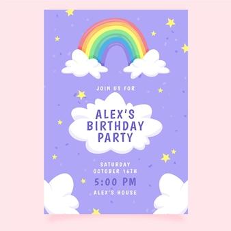 Invitation d'anniversaire arc-en-ciel dessinée à la main