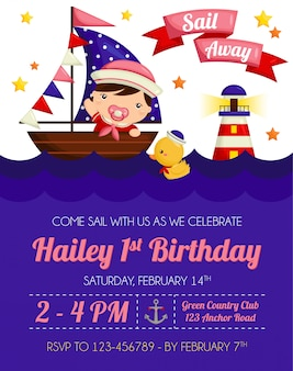 Invitation d'anniversaire de bébé fille nautique