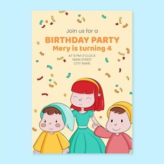 Invitation d'anniversaire blanche neige style dessiné à la main