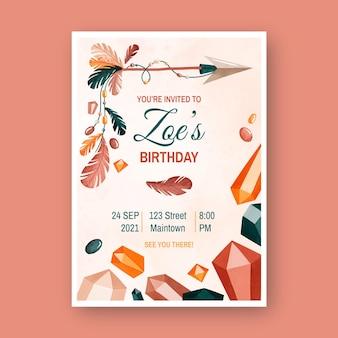 Invitation d'anniversaire boho aquarelle