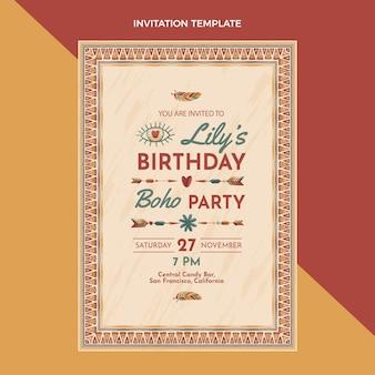 Invitation d'anniversaire boho dessinée à la main