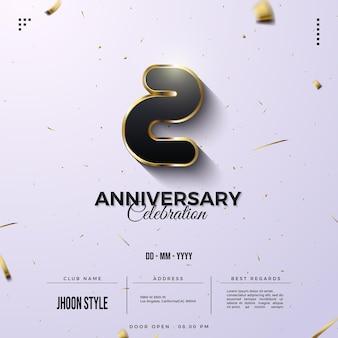 Invitation d'anniversaire avec des chiffres fantaisie bordés d'or