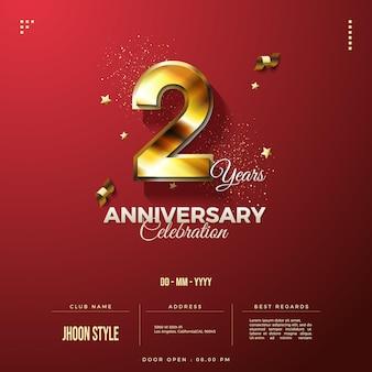 Invitation d'anniversaire avec des chiffres en or avec effet bokeh