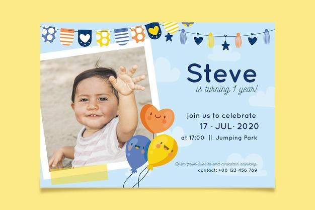 Invitation d'anniversaire avec concept photo