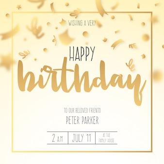 Invitation d'anniversaire avec des confettis dorés