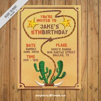 Invitation d'anniversaire avec une corde et cactus