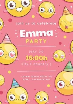 Invitation d'anniversaire de dessin animé emoji