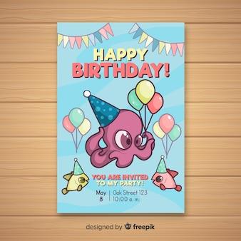 Invitation anniversaire de dessin animé poulpe