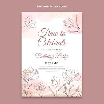 Invitation d'anniversaire dessinée à la main aquarelle