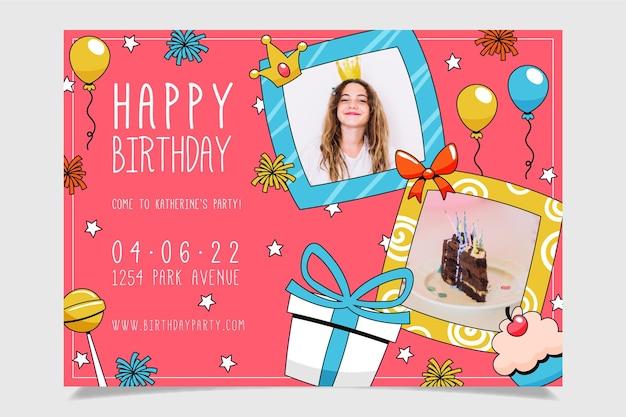 Invitation d'anniversaire dessinée à la main avec des cadeaux