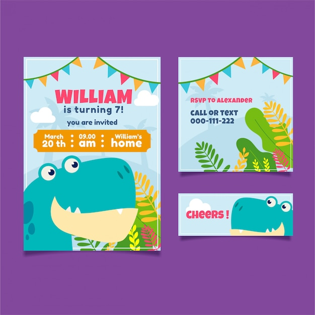 Invitation d'anniversaire de dinosaure coloré