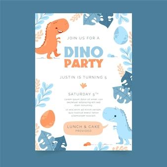 Invitation d'anniversaire de dinosaure design plat