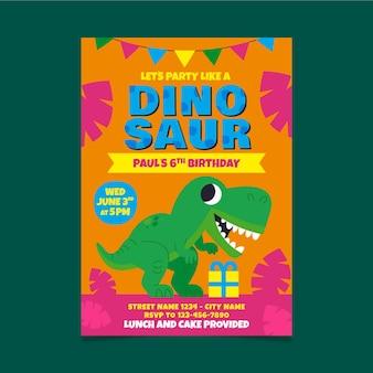Invitation d'anniversaire de dinosaure de dessin animé