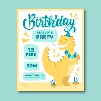 Invitation d'anniversaire de dinosaure dessiné à la main