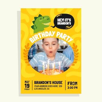 Invitation d'anniversaire de dinosaure avec photo