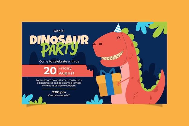 Invitation D'anniversaire De Dinosaure Plat Bio Vecteur Premium